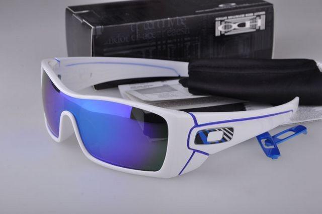 44dce1b580 Cheap Oakley Batwolf Sunglasses White Frame Blue Lens Stripe Logo Sale