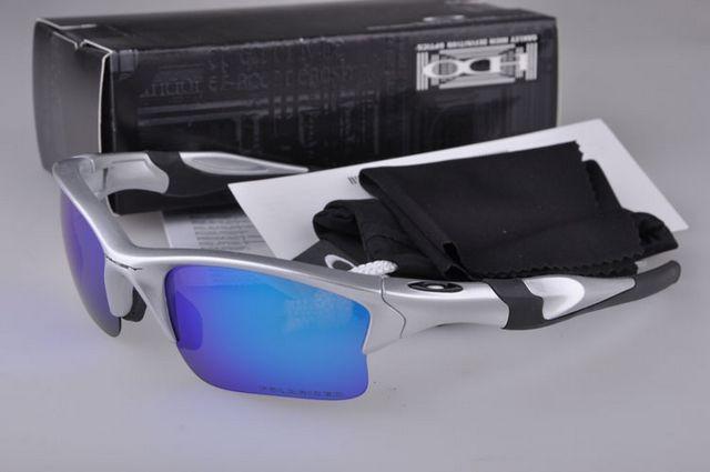 4470e4d81ae Cheap Oakley Half Jacket 2.0 Sunglasses Silver Black Frame Blue Iridium