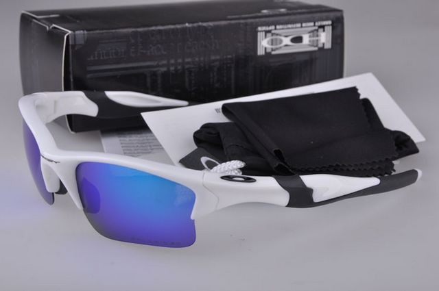f381f97e003 Cheap Oakley Half Jacket 2.0 Sunglasses White Frame Blue Lens Sale